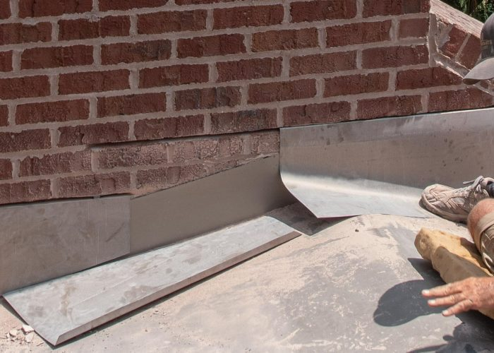 Counter Flashing installed into mortar joints